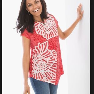 CHICO'S ZENERGY FLOWERED PRINTED TUNIC SIZE 3 RED